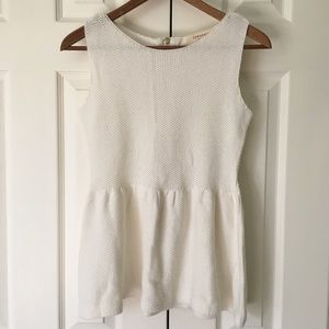 Zara Knit // White Sweater Peplum Top
